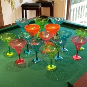 New Lot of 15 Plastic margarita glasses